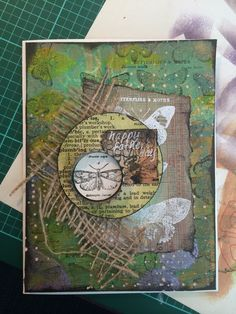 my card from gelli print background