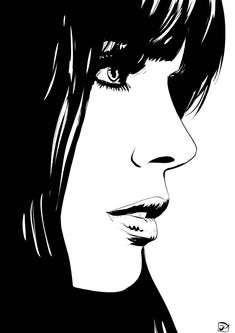 Illustration by Giuseppe Cristiano Art Pop, Cartoon Drawings, Art Drawings, Drawing Faces, Concept Art Tutorial, Face Sketch, Art Et Illustration, White Art, Portrait Art