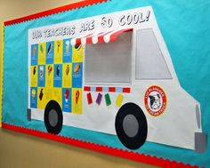 """love the awning on this ice cream truck!  Modify the title to say """"Books are so cool"""" and have the """"menu"""" feature different titles or genres"""