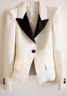 White Contrast Black Collar One Button Slim Blazer