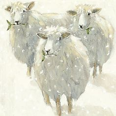 ♞ Artful Animals ♞ bird, dog, cat, fish, bunny and animal paintings - sheep in snow Sheep Paintings, Animal Paintings, Art And Illustration, Watercolor Animals, Watercolor Paintings, Watercolors, Sheep Art, Christmas Art, Art Market