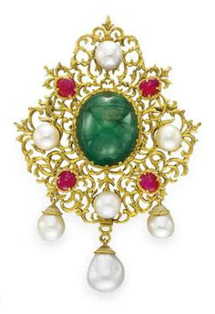 AN EMERALD, RUBY AND CULTURED PEARL BROOCH, BY BUCCELLATI   Centering upon an oval cabochon emerald, to the sculpted 18k gold openwork surround, set with four cultured pearls and carved rubies, suspending three articulated cultured pearls with sculpted gold caps, mounted in 18k gold, with pendant hoop for suspension, in a Buccellati gray leather case  Signed Gianmaria Buccellati, Italy