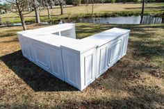 Three White Bars with White Pedestals Combine to make this complete large bar configuration Bar - 7 ft x ft x ft; Pedestal - 2 ft x 2 ft x ft White Bar, White Wood, Outdoor Furniture, Outdoor Decor, Pedestal, House, Cart, Events, Shopping