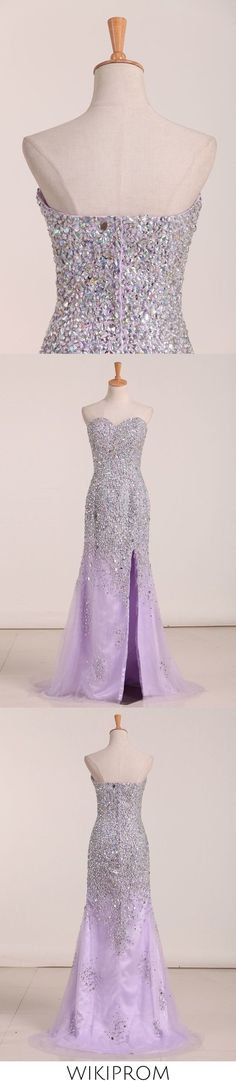 2019 Sweetheart Beaded Bodice With High Slit Tulle Prom Dress, This dress could be custom made, there are no extra cost to do custom size and color Split Prom Dresses, Tulle Prom Dress, Junior Bridesmaid Dresses, Homecoming Dresses, Girls Dresses, Flower Girl Dresses, Corsage, Bleu Royal, Quinceanera Dresses
