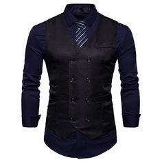 Fashion Double Breasted cotton Suit Vest Men 2018 Spring New Sleeveless Vest Waistcoat Mens Slim Fit Wedding Business Vests-ivroe Mens Suit Vest, Mens Suits, Blazer Vest, Western Outfits, Business Dress, Traje Casual, Double Breasted Vest, Men's Waistcoat, Workout Vest