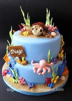 Sea Cake with Turtle Cake Topper Ocean Cakes, Beach Cakes, Cupcakes, Cupcake Cakes, Aquarium Cake, Finding Nemo Cake, Nautical Cake, Gateaux Cake, Novelty Cakes