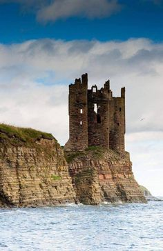 Keiss Castle ruins. Sinclair's Bay, Caithness, Sutherland, Scotland