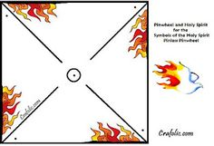 Pentecost pinwheel showing both flames and wind movement.