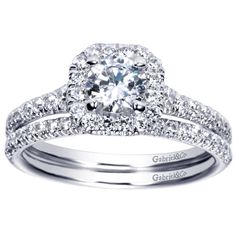14K White Gold Contemporary Cushion Cut Halo Engagement Ring .75 Carat ($2,950)
