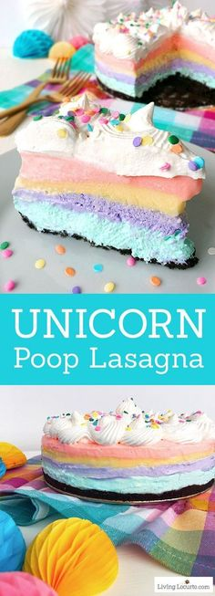 An easy no bake Unicorn Poop Lasagna dessert recipe! Fluffy pastel rainbow pie with layers of cheesecake, pudding and Cool Whip on a chocolate Oreo crust. Beautiful party cake! #dessert #unicorn #rainbow #cheesecake #easyrecipe #partyideas #cake #nobake #recipes #yummy