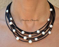 ca51ea7f317 Pearl and Leather Necklace - Brown Cascada - Pearl and Leather Jewelry -  Leather and Pearl Necklace - Leather and Pearl Jewelry - Leather