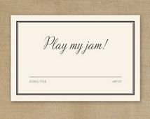 DIY Printable Wedding DJ Song Request Card Invitation Wording Rsvp Music