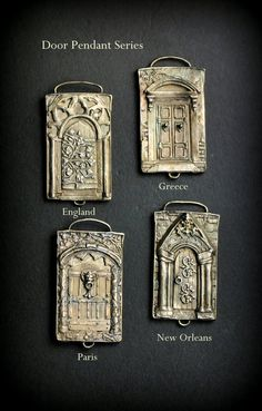 Door Panel Pendant Paris Solid Sterling by EAdornments on Etsy Metal Clay Jewelry, Jewelry Art, Antique Jewelry, Jewelry Design, Boho Jewellery, Silver Jewelry, Polymer Clay Art, Polymer Clay Jewelry, Precious Metal Clay