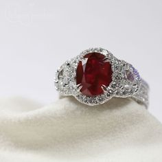 18kt White Gold Diamond and Blood Red Ruby Ring