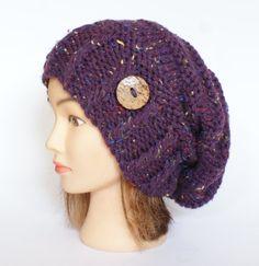 Purple Tweed slouch hat women  beanies hat  Slouch by Johannahats
