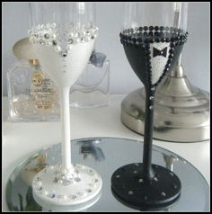 Bride and Groom Glasses/champagne toasting by byButtonsandSparkles Wedding Champagne Flutes, Wedding Glasses, Butterfly Wedding Theme, Bride And Groom Glasses, Toasting Flutes, Card Box Wedding, Diy Party Decorations, Wine Glass, Card Boxes