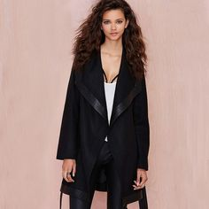 Black Trench Coat Outerwear Type: Trench Decoration: Bow Clothing Length: Long Pattern Type: Solid Type: Slim Closure Type: Open Stitch Style: Fashion Fabric Type: Woolen Material: Cashmere,Polyester