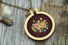 Autumn Floral Pink and Gold Mini Embroidery by IttyBittyBunnies