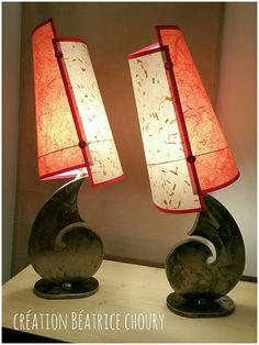 Lampes acier et papiers, création Béatrice Choury