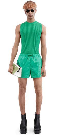 Acne Studios Perry holly green nylon swimwewar shorts #AcneStudios #menswear #SS16