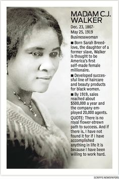 Sarah Breedlove (December 1867 – May known as Madam C. Walker, was an American entrepreneur, philanthropist, and the first female self-made millionaire in America. Black History Facts, Black History Month, Madam Cj Walker, Great Women, Amazing Women, African American History, Women In History, Famous Women, Business Women