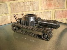 Hot Rod Tank Recycled Metal Sculpture and Pen by GeargoyleMetalArt