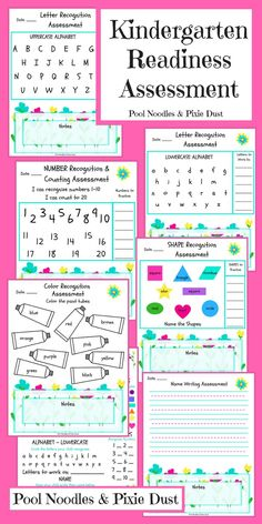 FREE 7-page Kindergarten Readiness Assessment - Pool Noodles & Pixie Dust