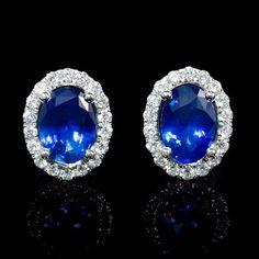 Diamond and Blue Sapphire 18k White Gold Cluster Earrings