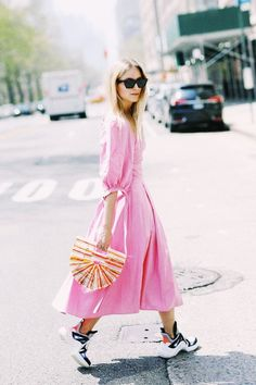 Dress-down Friday outfits: pink midi dress and chunky trainers