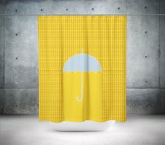 Yellow Shower Curtain Umbrella Shower by PillowsforthePlanet