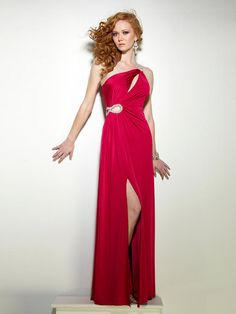 Floor-length One-shoulder A-line Red Evening Dress with Rhinestones