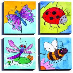 Set of 4 illustrated puzzles, each with 4 pieces. Puzzle size 20 x