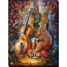 FramedCanvasArt.com Leonid Afremov 'Guitar And Violin' Giclee Print Canvas Wall Art