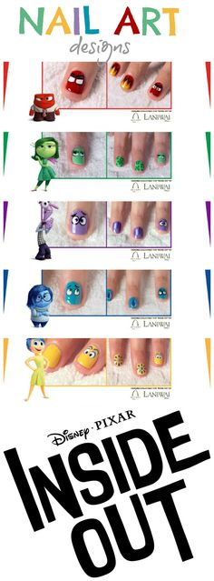 Inside Out Movie: Nail Art Designs Nail Art Disney, Disney Nail Designs, Cute Nail Designs, Pedicure Designs, Cute Nail Art, Easy Nail Art, Cute Nails, Diy Ongles, Nail Art For Kids