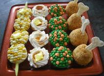 """Thanksgiving/TV Dinner Cupcakes - Inspired by """"Hello, Cupcake!"""""""