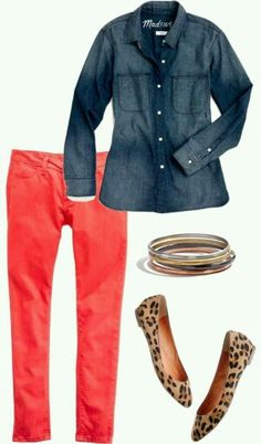 Coral jeans with denim shirt