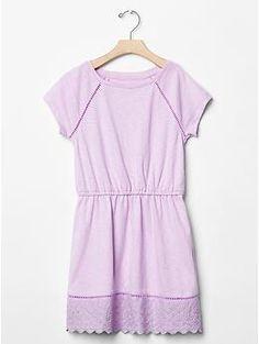 Eyelet raglan T-shirt dress