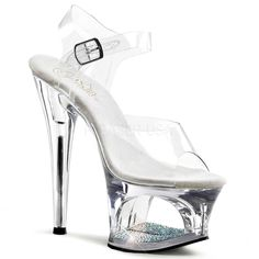 PLEASER MOON-708DM Clear Ankle Strap Sandals