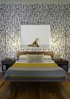 Bed, Bold Wallpaper, Night Table, Linen choices.   Mid-Century Modern Bedroom
