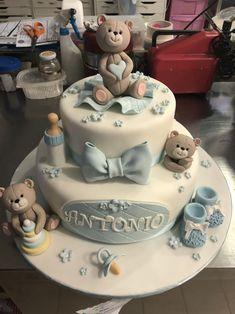 Torta Baby Shower, Baby Shower Cakes For Boys, Baby Shower Cookies, Cake Cookies, Cupcake Cakes, Cupcakes, Christening Cake Boy, Baby Boy Birthday Cake, Teddy Bear Cakes