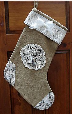 Burlap and Lace Christmas Stocking - So Pretty!