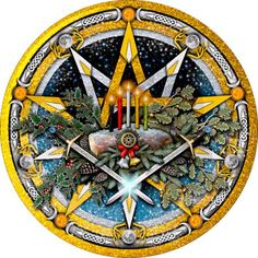 Gold & silver interlaced pentacles celebrating the pagan winter solstice sun sabbat of Yule featuring the yule log with candles, symbols for the Holly & Oak kings with celtic knotwork.