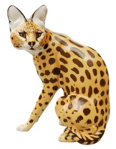 Hand painted porcelain wild cat  from Nymphenburg.
