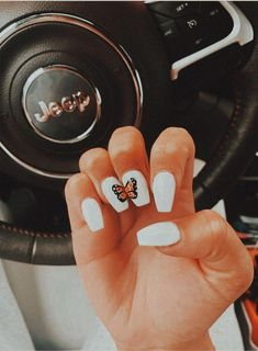 pretty acrylic nails for prom nails nailgoals acrylics acrylicnails butterfly nailart whitenails pretty nailpolish jeep vsco vscofilter vscovibes goodvibes Simple Acrylic Nails, Best Acrylic Nails, Summer Acrylic Nails Designs, Toenail Art Designs, Cute Nail Designs, Nagellack Design, Aycrlic Nails, Coffin Nails, Teen Nails