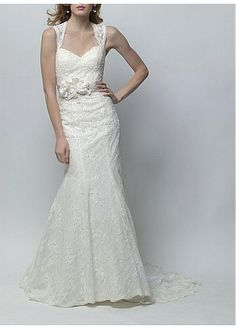 CHARMING LACE SATIN MERMAID SWEETHEART NECKLINE BEADED BRIDAL DRESS WITH HANDMADE FLOWER LACE BRIDESMAID