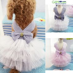 Cute Summer Pet Puppy Small Dog Cat Clothes Tutu Dress Princess Skirt Features: -100% brand new and high quality -Striped pattern well goes with mesh bottom -Lovely design, and good touch feel, your p  Dog Purfect