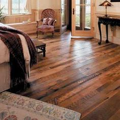 Plancher Reclaimed Barn Wood Flooring We are doing something similar in our new house - I absolutely love the look of it! Home, House Styles, Distressed Wood Floors, Barnwood Floors, Flooring, New Homes, House, Building A House, Reclaimed Barn Wood