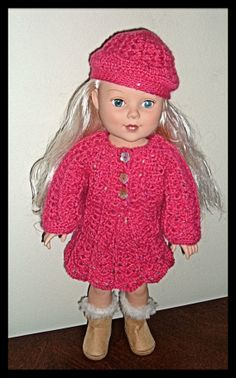 American Girl Doll Clothes : Crocheted cardigan sweater, skirt and beret by AUSSIEKNITWIT, $20.00