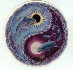 ☮ American Hippie Psychedelic Art Quotes ~ Ying yang - Dolphins, Sun and Moon