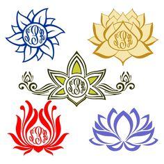 Lotus Flower Monogram Yoga Cuttable Designs Circle Monogram, Monogram Fonts, Monograms, Apex Embroidery, Embroidery Designs, Cricut Explore, Lotus Flower Art, Silhouette Clip Art, Silhouette Studio